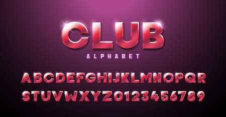 Pink Red three dimensional font effect. Club alphabet premium modern retro typography elements based on clubs, discos, music events, games, trendy and glamorous subjects. Mettalic luxury 3d typeface