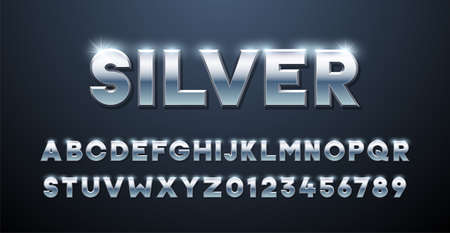 Silver Alphabet. Metallic font 3d effect typographic elements. Mettalic stainless steel three dimensional typeface effect 向量圖像