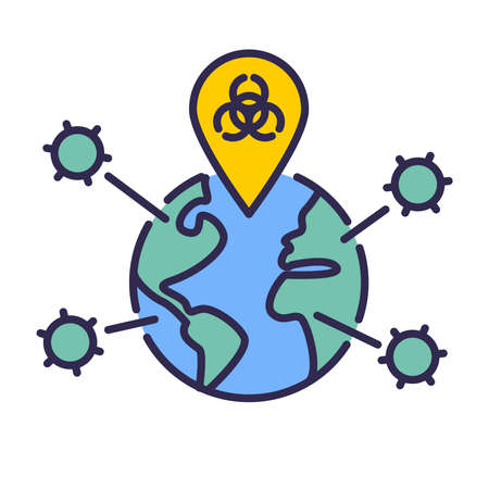 Vector thin line icon illustration with planet earth globe, biohazard symbol and virus. For concepts of pandemics, epidemics, biowarfare, coronavirus, covid19 and other dangers of viral disease outbreaks.