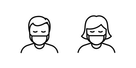 Man and Woman in medical face protection mask. Vector icon of depressed and tired people wearing protective surgical mask. illustration for concepts of disease, sickness, alergies, pollution, corona virus, quarantine, epidemy