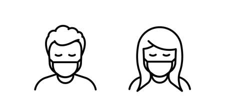 Man and Woman in medical face protection mask. Vector icon of depressed and tired people wearing protective surgical mask. illustration for concepts of disease, sickness, coronavirus, quarantine, social distancing