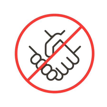 Avoiding physical contact. Vector thin line icon illustration with forbidden handshake symbols. Social distancing and safety tips for pandemics like covid-19 coronavirus outbreak
