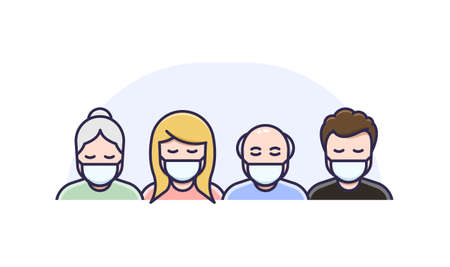 Men and Women in medical face protection mask. Vector icon of symptomatic or asymptomatic people wearing protective surgical mask. illustration for concepts of disease, sickness, coronavirus, quarantine, social distancing