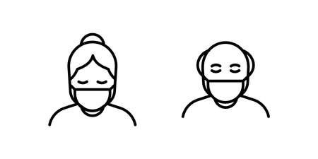 Old man and woman in medical face protection mask. Vector icon of higher risk vulnerable people wearing protective surgical mask. illustration for concepts of disease, sickness, coronavirus, quarantine, social distancing 向量圖像