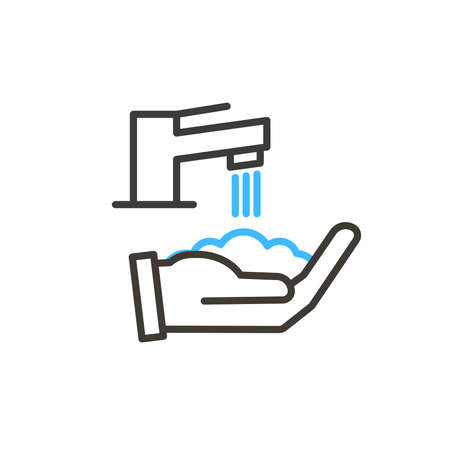 Coronavirus covid-19 prevention hand washing illustration. Vector thin line icon with hands sanitizing with water and soap. Simple design for antibacterial and protection from infection awareness