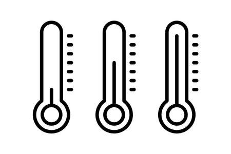 Thermometer thin line vector icon illustration infographics. For concepts of healthcare, weather and other measuring subjects. Cold and warm. Flu, virus. Warm or freezing day 向量圖像