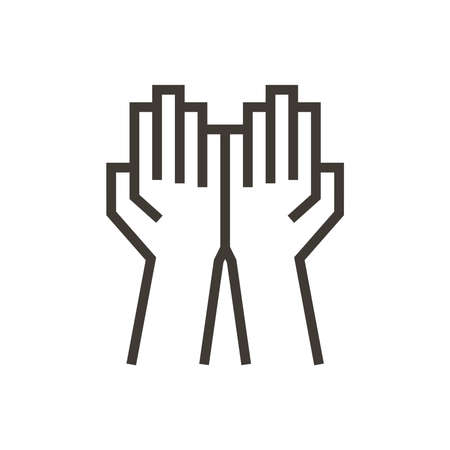 Open folded hands icon. Vector illustration representing praying, giving, support and humanitarian concepts