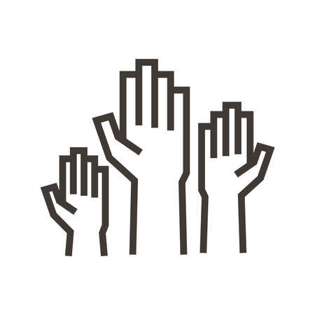 Volunteers and charity work. Raised helping hands. Vector thin line icon illustrations with a crowd of people ready and available to help and contribute. 向量圖像