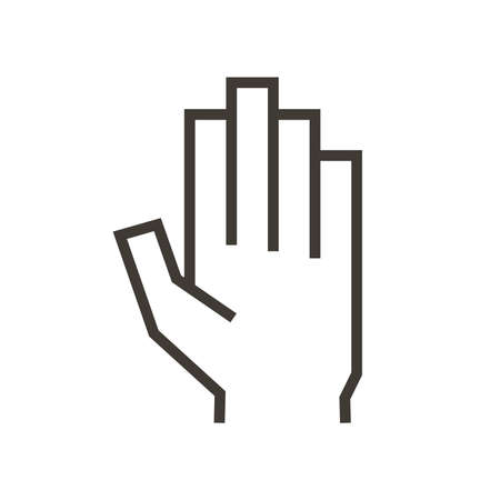 Volunteering and charity work. Raised helping hand. Vector outline icon illustration representing beeing ready and available to help and contribute. Positive foundation, business, service. Social media symbol for OK or accepted. Open hand 向量圖像