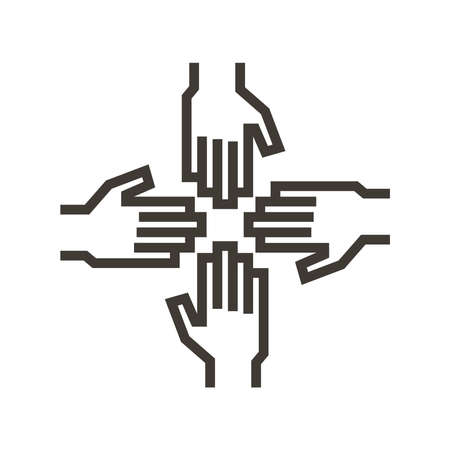 Hands of different people together. Vector icon illustration for concepts of teamwork, unity, community, togetherness.