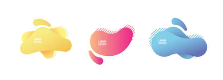 Set of modern organic and colorful shapes. Fluid vector trendy and glowy elements. Template graphics with geometric speech bubbles and banners with frames to put your own text