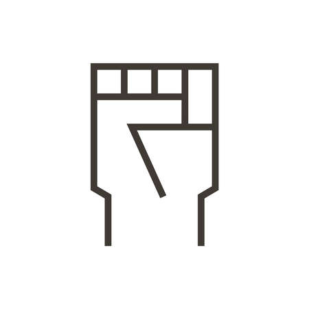Closed fist. Vector illustration icon of hand representing different subjects like riots, change, motivation or success.