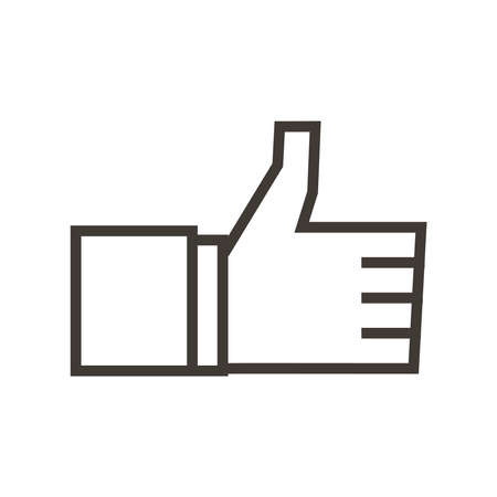 Cheerful thumbs up like symbol. Approval, certified vector trendy flat outline icon illustration design. Social media sign of approval and OK.