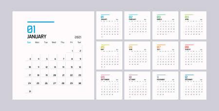 Modern minimal Calendar Planner Template for 2021. Vector design editable template