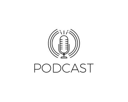 Podcast Icon. Vector illustration with microphone for concepts of music, conversations, online live shows, music and concerts. Thin line minimal graphic style Illustration