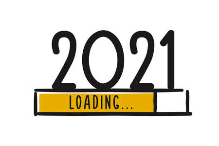 Doodle new year download screen. Progress bar almost reaching new year's eve. Vector illustration with 2021 loading Ilustración de vector
