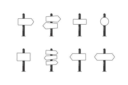 Set of 8 empty road sign post arrows indicating pointing towards directions. Isolated Vector illustration icon graphics to add text with your concepts 向量圖像