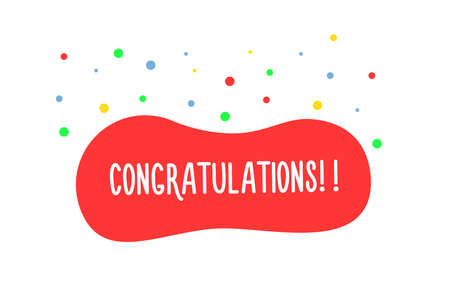 Congratulations handwritten text in red liquid shape with colorful confetti. Vector graphic design element banner for greetings, prizes, awards, graduations, achievements 矢量图像
