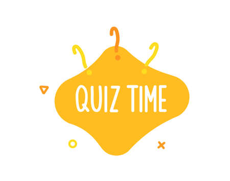 Quiz time text on liquid shape with question marks and geometric outline figures. Vector graphic design template for quiz question games, questionnaires, education, pub and bar events, online games, social media, business and marketing events Illustration