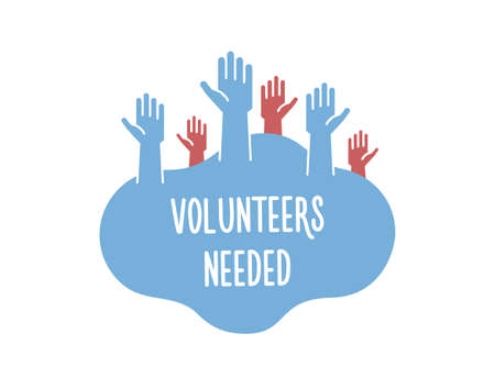 Volunteers and charity work. Raised helping hands. Vector filled flat isolated banner illustration with a crowd of people ready and available to help and contribute. Positive foundation, business, service.