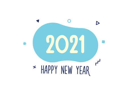 2021 Vector Design. Happy New Year illustration for the year 2021. For your festive poster and banner designs.