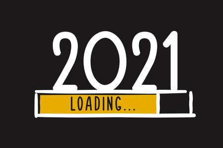 Doodle new year download screen. Progress bar almost reaching new year's eve. Vector illustration with 2021 loading