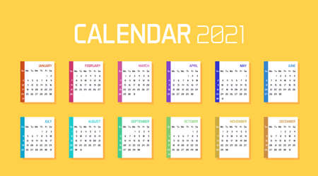 Modern minimal Calendar Planner Template for 2021. Vector design editable with twelve months. Week starts sunday 矢量图像