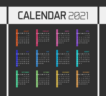 Modern minimal Calendar Planner Template for 2021. Vector design editable with twelve months. Week starts sunday Illustration
