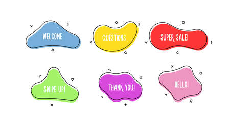 Set of modern organic doodle shapes. Fluid vector trendy elements. Template graphics with geometric speech bubbles and banners with frames to put your own text