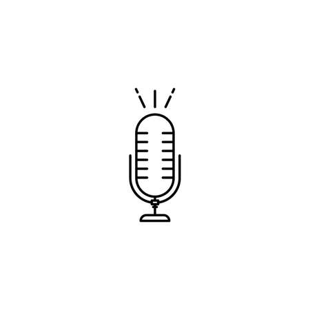 Microphone icon. Vector thin line illustration for concepts of music, studios, conversation, radio and television shows or online podcasts.