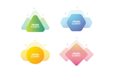 Geometric graphic design elements. Vector shapes with abstract geometric lines for text. Template for usage in presentations, web design, websites, magazines, labels, marketing and business