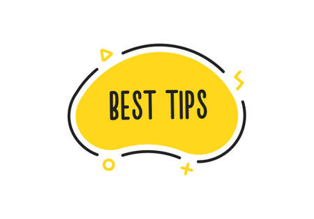Top tips word on a doodle badge with geometric shapes. Vector icon concept 矢量图像