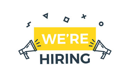 We're Hiring graphic design illustration with megaphones, yellow banner and trendy geometric shapes. Looking for employees and job offering concepts