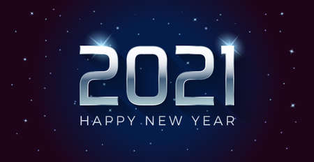 Vector Happy new year 2021 illustration with silver 3d text on a dark blue background full of stars.  For seasonal holiday web banners, flyers and festive posters