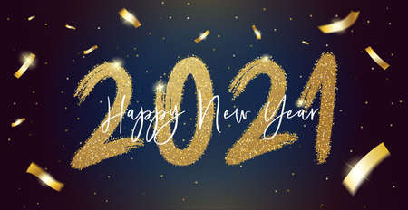 Happy New Year 2021 with calligraphic and brush painted with sparkles and glitter text effect. Vector illustration background for new year's eve and new year resolutions and happy wishes, seasonal holiday web banners, flyers and festive posters Illustration