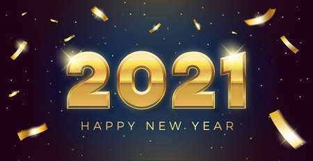 Vector Happy new year 2021 background with golden 3d text and explosion of conffeti. For seasonal holiday web banners, flyers and festive posters