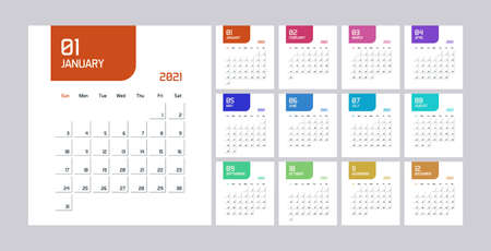 Modern minimal Calendar Planner Template for 2021. Vector design editable template
