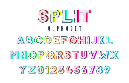 Colorful alphabet typeface vector set. Stylized expressive fun and cheerful font outlined with flat colors