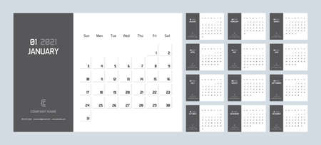 Business Corporate Calendar Planner Template for 2021. Vector design editable modern minimal template