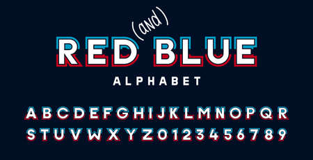 Alphabet font typeface in red, white and blue. Stylized Typographic vector design