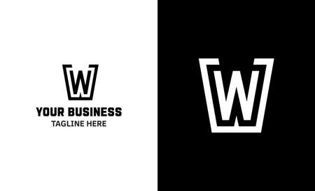 Letter W minimal vector logo. Icon mark design template Illustration
