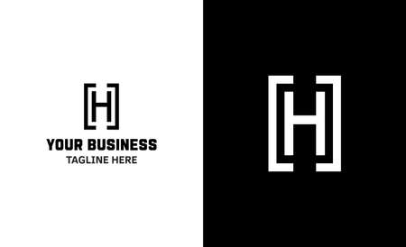 Letter H minimal vector logo. Icon mark design template
