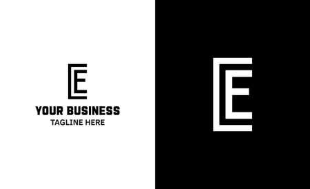 Letter E minimal vector logo. Icon mark design template
