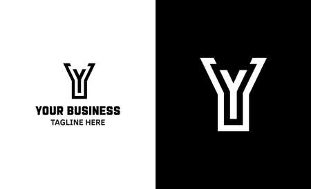 Letter Y minimal vector logo. Icon mark design template