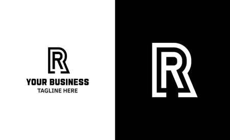 Letter R minimal vector logo. Icon mark design template 矢量图像