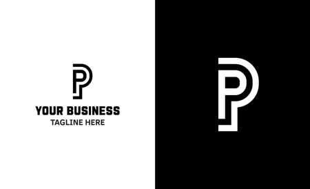 Letter P minimal vector logo. Icon mark design template