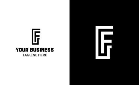Letter F minimal vector logo. Icon mark design template