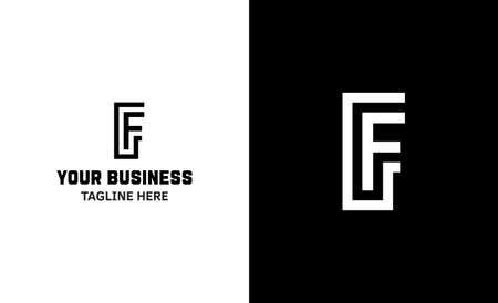 Letter F minimal vector logo. Icon mark design template