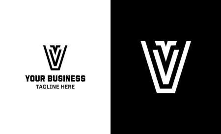 Letter V minimal vector logo. Icon mark design template Illustration