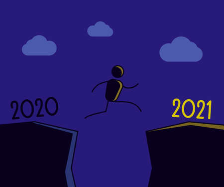 Person jumping towards the new year and leaving 2020 behind. New year 2021 shining bright symbolizing hope. Vector illustration design